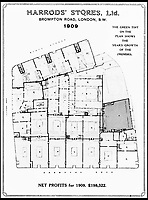 BNPS.co.uk (01202 558833)<br /> Pic: Harrods/BNPS<br /> <br /> A floor plan of Harrods in 1909 showing the vast expansion.<br /> <br /> Harrods was almost shut down in the 1830s long before it became a worldwide name because of its founder's criminal dealings, a new book has revealed.<br /> <br /> In The Jewel of Knightsbridge, The Origins of the Harrods Empire, author Robin Harrod discovered his great great grandfather, Harrods founder Charles Henry Harrod, was on the brink of being deported to Australia for handling stolen goods in 1836.<br /> <br /> He was only saved from his sentence of seven years transportation (deportation) by a petition on his behalf which vowed he would turn his back on crime.<br /> <br /> The Jewel of Knightsbridge: The Origins of The Harrods Empire by Robin Harrod, published by The History Press, costs &pound;20 and will be released on February 13.