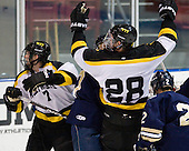 Andrew Yarber (WIT - 7) and Mike Domsodi (WIT - 28) celebrate, but goal was waved off. - The Wentworth Institute of Technology Leopards tied the visiting Johnson &amp; Wales University Wildcats 2-2 on Sunday, November 20, 2011, at Matthews Arena in Boston, Massachusetts.
