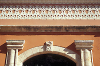 Architectural detail of retsored Spanish colonial manision in the city of Campeche, Mexico