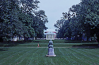 Thomas Jefferson: University of Virginia--Rotunda from south end of lawn. (The sculpture is of Homer as a youth.)  Photo '85.