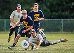 4 June 2016: Montpelier High School plays Essex High in the Open I Finals of the VYUL State Ultimate Disk Championships at Bombardier Park in Milton, Vermont. Essex defeated Montpelier 15-10 to win the 2016 State Championship. Mandatory Credit: Ed Wolfstein Photo *** RAW (NEF) Image File Available ***