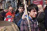 Demonstration am 8. April in Zagreb gegen die Einführung der serbischen Schrift in der Grenzstadt Vukovar.