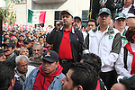 Electric workers union secretary-general Martin Esparza gives a speech along with telephone workers protesting outside the Telmex corporate venue as part of a  national strike along with more than 700 unions and social organizations to demand to reverse the decision to diissolve the Luz y Fuerza del Centro state company. Photo by Heriberto Rodriguez