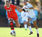 20 November 2016: Clemson's Claire Wagner (5) and North Carolina's Abby Elinsky (8). The University of North Carolina Tar Heels played the Clemson University Tigers at Fetzer Field in Chapel Hill, North Carolina in a 2016 NCAA Division I Women's Soccer Tournament Third Round match. UNC won the game 1-0.