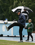 UNC head coach Elmar Bolowich juggles the ball on Sunday, November 27th, 2005 at Fetzer Field in Chapel Hill, North Carolina. The University of North Carolina Tarheels defeated the University of Virginia Cavaliers 2-1 in a NCAA Men's Soccer Tournament Round of 16 game.