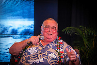 """HONOLULU, Turtle Bay Resort, North Shore, Oahu. - (Thursday, January 3, 2013) Greg Noll (USA) was the guest  speaker of Talk Story at Surfer The Bar tonight, Noll, nicknamed """"Da Bull"""" by Phil Edwards in reference to his physique and way of """"charging"""" down the face of a wave is an American pioneer of big wave surfing and is also acknowledged as a prominent longboard shaper. Noll was a member of a US lifeguard team that introduced Malibu boards to Australia around the time of the Melbourne Olympic Games. Noll became known for his exploits in large Hawaiian surf on the North Shore of Oahu. He first gained a reputation in November 1957 after surfing Waimea Bay in 25-30 ft surf when it had previously been thought impossible even to the local Hawaiians. He is perhaps best known for being the first surfer to ride a wave breaking on the outside reef at the so-called Banzai Pipeline in November 1964...It was later at Makaha, in December 1969, that he rode what many at the time believed to be the largest wave ever surfed. After that wave and the ensuing wipeout during the course of that spectacular ride down the face of a massive dark wall of water, his surfing tapered off and he closed his Hermosa Beach shop in the early 1970s. He and other surfers such as Pat Curren, Mike Stang, Buzzy Trent, George Downing, Mickey Munoz, Wally Froyseth, Fred Van Dyke and Peter Cole are viewed as the most daring surfers of their generation...Noll is readily identified in film footage while surfing by his now iconic black and white horizontally striped """"jailhouse"""" boardshorts and was interviewed by host Jodi Wilmott (AUS). . Photo: joliphotos.com"""