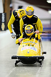 22 November 2009:  Edwin van Calker, piloting the Netherlands 1 bobsled, leads his 4-man team to a 6th place finish at the FIBT World Cup competition, in Lake Placid, New York, USA. Mandatory Credit: Ed Wolfstein Photo