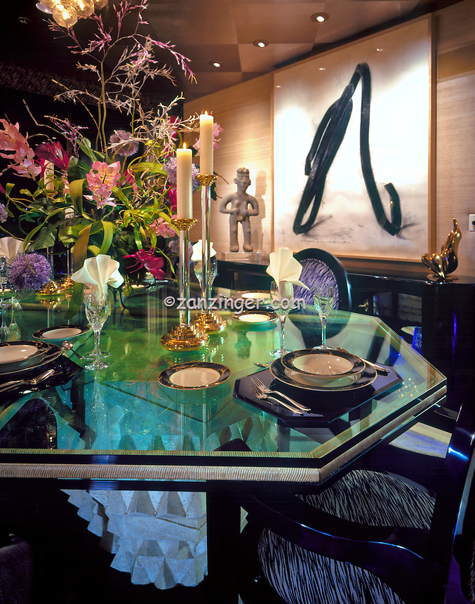 Dining room table set, glass top, artwork, Close-up, Elegant, Luxury, .jpg