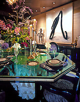 Dining room table set, glass top, artwork, Close-up, Elegant, Luxury, .jpg