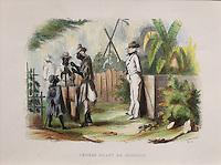 Slaves pounding couscous (actually manioc, called 'couche-couche' in Haiti), chromolithograph, c. 1840, in the Musee d'Aquitaine, Cours Pasteur, Bordeaux, Aquitaine, France. Picture by Manuel Cohen