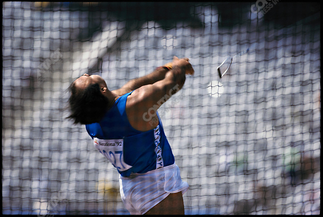 Hammer throw, men, Enrico Sgrulletti (Italy). Summer Olympics, Barcelona, Spain, August 1992