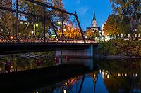 Merriam Street Bridge and Our Lady of Lourdes Catholic Church in Minneapolis, MN.