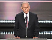 United States Senator Jeff Sessions (Republican of Alabama) makes remarks at the 2016 Republican National Convention held at the Quicken Loans Arena in Cleveland, Ohio on Monday, July 18, 2016.<br /> Credit: Ron Sachs / CNP<br /> (RESTRICTION: NO New York or New Jersey Newspapers or newspapers within a 75 mile radius of New York City)