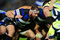 Henry Thomas of Bath Rugby prepares to scrummage against his opposite number. Aviva Premiership match, between Bath Rugby and Sale Sharks on October 7, 2016 at the Recreation Ground in Bath, England. Photo by: Patrick Khachfe / Onside Images