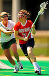 25 April 2009: Stony Brook University Seawolves' attackman Abby Ford, a Freshman from Baltimore, MD, in action against the University of Vermont Catamounts at Moulton Winder Field in Burlington, Vermont. The Lady Cats defeated the visiting Seawolves 19-11 in Vermont's last home game of the 2009 season. Mandatory Photo Credit: Ed Wolfstein Photo