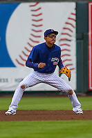 Iowa Cubs infielder Munenori Kawasaki (1) during a Pacific Coast League game against the Colorado Springs Sky Sox on May 1st, 2016 at Principal Park in Des Moines, Iowa.  Colorado Springs defeated Iowa 4-3. (Brad Krause/Four Seam Images)