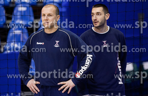 Gorazd Skof of Slovenia and Dragan Gajic of Slovenia during practice session of Slovenia National Handball team during Main Round of 10th EHF European Handball Championship Serbia 2012, on January 21, 2012 in Spens Sports Center, Novi Sad, Serbia. (Photo By Vid Ponikvar / Sportida.com)