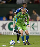 Osvaldo Alonso of Sounders in action during the game against the Earthquakes at Buck Shaw Stadium in Santa Clara, California on April 2nd, 2011.   San Jose Earthquakes and Seattle Sounders are tied 2-2.