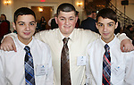 PROSPECT CT. 02 February 2017-020317SV06-From left, Andrew Petro, 13, of Waterbury, Zach Lanese, 17 of Watertown, and Dan Petro, 13, of Waterbury attend The Waterbury Regional Chamber's Small Business Council's  20th annual Harold Webster Smith Awards in Prospect Friday.<br /> Steven Valenti Republican-American