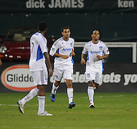 San Jose Earthquakes midfielder Chris Wondolowski (8) celebrates his score in the 45th minute of the game.  San Jose Earthquakes defeated DC United 2-0 at RFK Stadium, October 9, 2010.