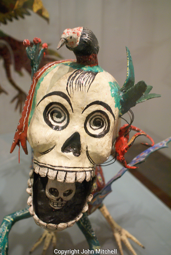 Papier mache laughing skull in the Museum of Popular Art, Mexico City. The Museo de Arte Popular, which opened in 2006, showcases folk art from all of Mexico's 31 states.