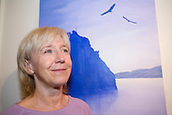 Artist Heidi Hehn shows her paintings on display at Yukon Artists @ Work in Whitehorse