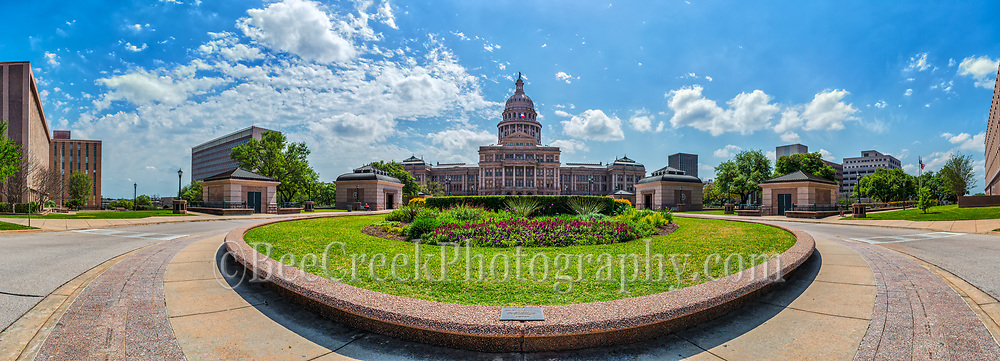 We capture this image of the Texas Capitol in Austin with 180 degree pano for a little different perspective of our state capital.  The Texas Capital is a favorite spot for tourist anytime of year so capturing this without a lot of people take patience. The state capitol in Austin is one of the most popular spot to visit by toursit and locals. It grounds are beautiful and lush especially in the spring.