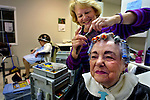 Venita Siegenthaler has her hair done in the beauty parlor at Calaroga Terrace by beautician Janie Crocker. Residents love The Terrace on the third floor which houses this shop along with the a library, dining hall, mini-bank and much more.