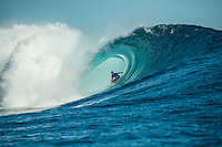 Namotu Island Resort, Nadi, Fiji (Wednesday, June 15 2016):   - The Fiji Pro, stop No. 5 of 11 on the 2016 WSL Championship Tour, was recommenced today at Cloudbreak with a new SSW swell in the 6' plus range. The contest had endured a long spell of layaways due to small conditions but it roared back to life with the new swell which is expected to continue for the rest of the waiting period.<br /> The hat of the day was between Taj Burrow (AUS) who has retired for the pro tour and John John Florence (HAW) who is being tipped as a World Champion this year.<br /> Both surfers were counting two 9 pt plus rides in their scores but it was Florence who scraped through finishing Burrows 18 year career on a high.<br /> Photo: joliphotos.com