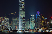 The skyscrapers of Hong Kong's Central district lit up at night