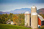 Scragg Mountain in the Northfield Range and autumn color in Waitsfield, VT, USA