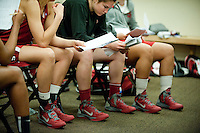 FRESNO, CA--With new game shoes, the Cardinal review plays in the locker room during a practice day in preparation to take on Duke at the Save Mart Center for the West Regionals Championships of the 2012 NCAA Championships.