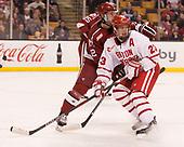 John Marino (Harvard - 12), Jakob Forsbacka Karlsson (BU - 23) - The Harvard University Crimson defeated the Boston University Terriers 6-3 (EN) to win the 2017 Beanpot on Monday, February 13, 2017, at TD Garden in Boston, Massachusetts.