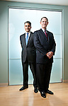 Paul Stebbins, CEO, and COO Mike Kasbar, of World Fuel Services photographed at their Miami headquarters.