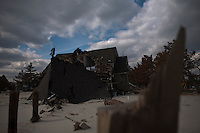 New Jersey, United States. 25th Feb, 2013 -- A house destroyed almost 4 months ago by Sandy Storm is seen at Jersey Shore in New Jersey. Photo by Eduardo Munoz Alvarez / VIEWpress.
