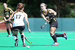 30 August 2014: Iowa's Pommeline Korstanje (BEL) (4) and Wake Forest's Kali Vicars (17). The Wake Forest University Demon Deacons played the University of Iowa Hawkeyes at Francis E. Henry Stadium in Chapel Hill, North Carolina as part of the ACC/Big 10 Challenge and an 2014 NCAA Division I Field Hockey match. Iowa won the game 4-1.