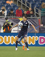 New England Revolution midfielder Marko Perovic (29) attempts to control the ball. In a Major League Soccer (MLS) match, the New England Revolution defeated Sporting Kansas City, 3-2, at Gillette Stadium on April 23, 2011.