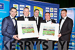 Kerry Stars Marc, Dara and Tomas O'Sé are preseted with paintings  by Patrick O'Sullivan Kerry County Board Chairman and Stan McCarthy CEO Kerry Group at the Kerry GAA gala ball in the INEC on Saturday night