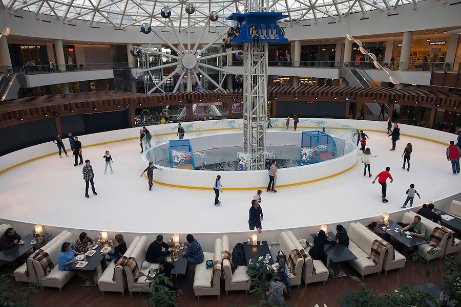 Moscow, Russia, 12/03/2011..Ice rink and amusements in Vegas, the largest shopping mall in Russia, built by Crocus International, a real estate development company owned and run by Aras Agalarov and his son Emin.