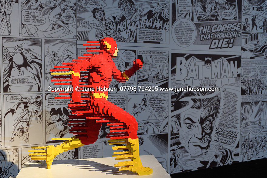 London, UK. 28.02.2017. THE ART OF THE BRICK: DC SUPER HEROES - Artist Nathan Sawaya returns to London with the world's largest LEGO exhibition, inspired by Batman, Superman, and Wonder Woman. The exhibition opens, in a purpose-built marquee in Doon Street car park, Upper Ground, on the South Bank. Picture shows: Flash Forward. Photograph © Jane Hobson.