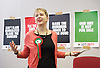 Ken Loach, director of Cathy Come Home launches Left Unity's 2015 manifesto in a Soho squat in Ingestre Court, Ingestre Place, Soho, London, Great Britain <br /> 31st March 2015 <br /> <br /> <br />  <br /> Kate Hudson - National Secretary <br /> <br /> <br /> Photograph by Elliott Franks <br /> Image licensed to Elliott Franks Photography Services