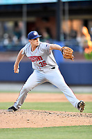 Hagerstown Suns pitcher Mick VanVossen (36) delivers a pitch during a game against the  Asheville Tourists at McCormick Field on May 13, 2017 in Asheville, North Carolina. The Suns defeated the Tourists 9-5. (Tony Farlow/Four Seam Images)