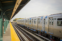 "A test train, right, consisting of new R179 subway cars runs along the elevated portion of the ""A"" line in Queens in New York on Wednesday, November 2, 2016. manufactured by Bombardier, partially in upstate Plattsburgh, New York, the cars will eventually replace the comparatively ancient R32 cars from 1964 on the A, C, M, J, and Z lines. ( © Richard B. Levine)"
