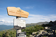 Entering the Great Gulf Wilderness sign along Six Husbands Trail in the White Mountains, New Hampshire USA