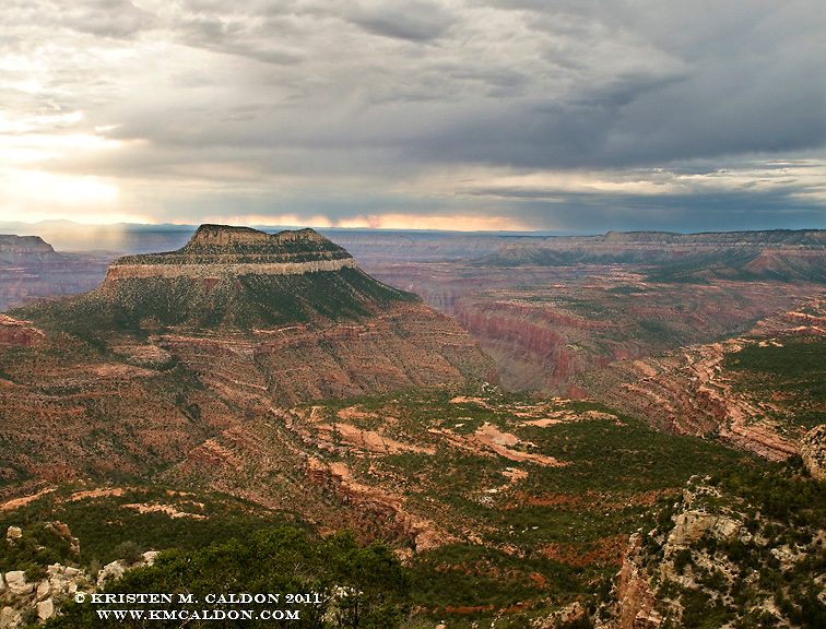 Monsoon clouds swirl around Steamboat Rock.<br /> Fire Point on The North Rim<br /> Grand Canyon National Park