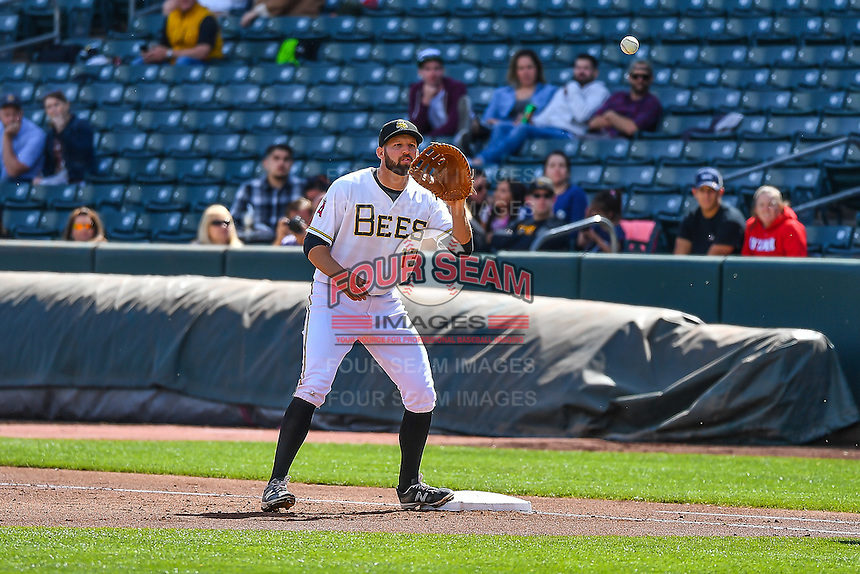 Kyle Kubitza (13) of the Salt Lake Bees on defense against the El Paso Chihuahuas in Pacific Coast League action at Smith's Ballpark on April 24, 2016 in Salt Lake City, Utah. This was Game 2 of a double-header.  Salt Lake defeated El Paso 6-5. (Stephen Smith/Four Seam Images)