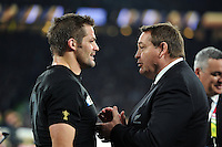 Richie McCaw of New Zealand speaks with Head Coach Steve Hansen after the match. Rugby World Cup Final between New Zealand and Australia on October 31, 2015 at Twickenham Stadium in London, England. Photo by: Patrick Khachfe / Onside Images