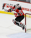 Mar 17, 2009; Newark, NJ, USA; New Jersey Devils goalie Martin Brodeur (30) jumps in the air after defeating the Chicago Blackhawks 3-2 at the Prudential Center and becoming the all-time winningest goalie in NHL history with his 552 win.