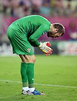 FUSSBALL  EUROPAMEISTERSCHAFT 2012   VORRUNDE Kroatien - Spanien                 18.06.2012 Stipe Pletikosa (Kroatien) enttaeuscht