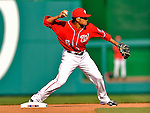 2 April 2011: Washington Nationals infielder Ian Desmond in action against the Atlanta Braves at Nationals Park in Washington, District of Columbia. The Nationals defeated the Braves 6-3 in the second game of their season opening series. Mandatory Credit: Ed Wolfstein Photo